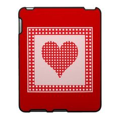 Red and White Polka Dot Heart Pattern Ipad Skin $56.20