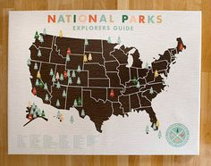 """Want! All the US National Parks are numbered and listed on the map, and when you've been to that park, you put the corresponding number sticker on the place. This would be a lovely way of keeping track of my """"visit every national park"""" goal"""