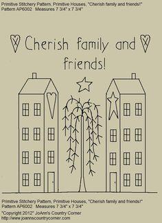 Primitive Stitchery EPattern Cherish family by JoAnnCountryCorner, $2.00