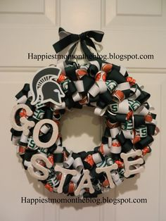Happiest Mom on the Blog: Ribbon Wreath - Michigan State