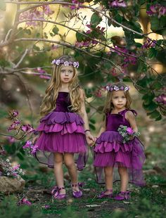 Plum Flower Girl Dresses, Purple Gowns, Cute Girl Dresses, Super Cute Dresses, Little Girl Dresses, Pink Dress, Girl Outfits, Flower Girls, Pink And White Stripes