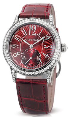 Faberge Agathon Medium Diamond and Red Dial