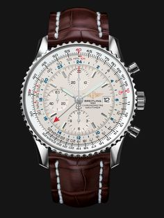 The glorious Navitimer World.  Business in two time zones? No problem!   With a 46mm Steel Case, Silver Dial, Croco Brown Strap and Folding Clasp | RRP £5,030.00 | This is a must have for any true high end timepiece collection. (In our opinion!) Steel Bracelet also available (Sold Separately)