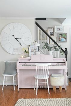 Spring Home Decor Ideas- Living Room with Painted Piano