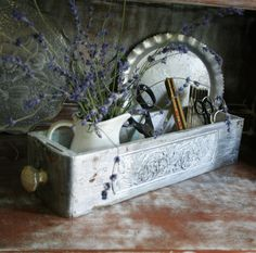 Vintage Sewing Drawer Distressed with Metallic by tracinicole, $55.00