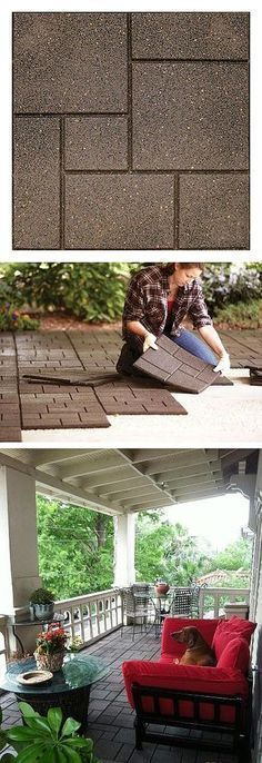 Beautify your patio and be eco-friendly at the same time. These pavers are made of recycled rubber. The light, flexible tiles can be installed on top of any existing hard surface such as wood, concrete and patio tiles. For use on balconies, patios, decks. Outside Living, Outdoor Living, Patio Tiles, Pavers Patio, Concrete Porch, Paver Walkway, Cement Patio, Concrete Pavers, Outdoor Spaces