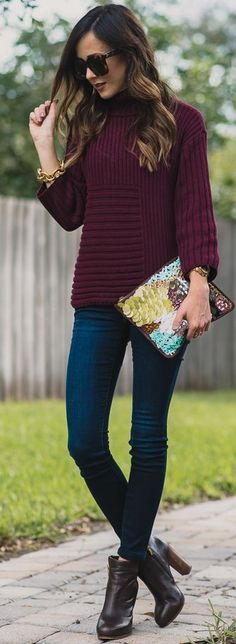 Purple Turtleneck Sweater Fun Accessorize Fall Street Style Inspo by Sequins & Things
