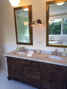 Restoration Hardware Vanity With Carerra Mable Countertop Aged Brass Mirrors Sconce Rejuvenation
