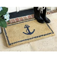 Anchor Coir Mat  | Ballard Designs  $26 This would be cute by the back door. (I love this, but I don't think it's available)