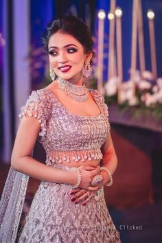 Looking for Cocktail or reception jewellery with all diamonds? Browse of latest bridal photos, lehenga & jewelry designs, decor ideas, etc. on WedMeGood Gallery.