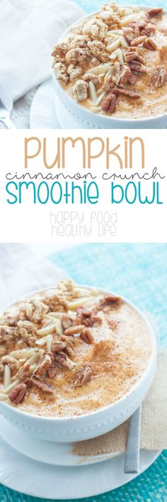 Pumpkin Cinnamon Crunch Smoothie Bowl - this easy and healthy breakfast smoothie is full of nutrients to get you through the entire morning with /lovemysilk/ - AD Detox Recipes, Smoothie Recipes, Healthy Recipes, Drink Recipes, Healthy Food, Breakfast Bowls, Breakfast Recipes, Fall Breakfast, Cena Light