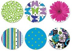 Spring Green and Blue by Ellen Medlock Set of 6 Pins or Magnets