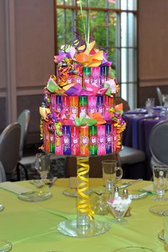 3-Tiered Candy Cake w/Topper #candy #theme #batmitzvah #barmitzvah #candycake #centerpiece
