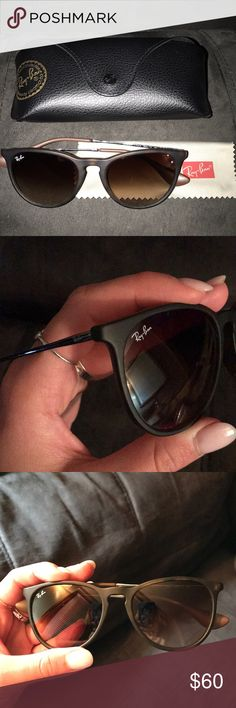 """AUTHENTIC Erika style Ray Bans in dark brown Authentic Erika style Ray Ban sunglasses in dark brown with original packaging! There is a very faint small scratch on the right lens under the """"Ray Bans"""" (so faint I haven't seen it until now, it barely shows in photographs) otherwise they are in great condition! Only worn a handful of times. I have too many pairs and don't wear these anymore. They were $120 when I got them. Ray-Ban Accessories Sunglasses"""