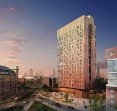 New Massachusetts College of Art & Design student Tree House Residence on Huntington Avenue, Boston, MA by ADD Inc.