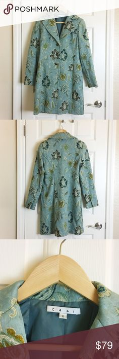 CAbi Blue Tapestry Coat Fully lined CAbi Guinevere Jacobean Tapestry coat. CAbi Jackets & Coats