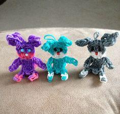 Rainbow Loom bunnies Made by Alyssa.