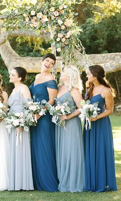 Jenny Yoo Collection 2018 Bridesmaids, featuring romantic long luxe chiffon mismatched styles with flutter sleeves, halters and v-necks and above the knee skirt slits. These bridesmaids dresses shown in shades of blue as well as solids and tropical prints with light and deep blue which are perfect for a classic, timeless and elegant mix n match bridal party for a spring, summer, fall or winter wedding.