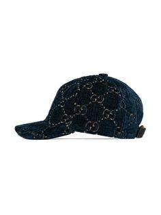 Gucci Logo Embroidered Velvet Baseball Cap - Black In Blue Canvas Hat, Gucci Hat, Velvet Hat, Gucci Gifts, Head Wrap Headband, Buy Gucci, Mens Caps, Gucci Black, Bag Accessories