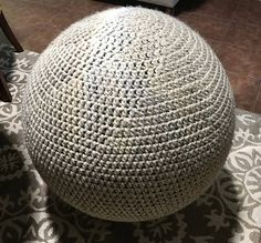 This is a pattern, not a finished product. To make the yoga ball cover youll need: Lion Brand Wool-Ease Thick and Quick Yarn: 9 skeins meters each) Crochet Hook size – MM Crochet Hook Sizes, Crochet Hooks, Lion Brand Wool Ease, Craft Rooms, Basement, Free Pattern, Crochet Patterns, Pillows, Cover