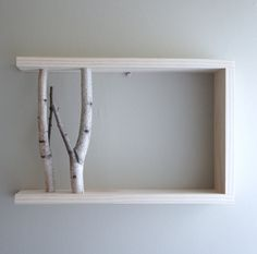 white birch forest - natural white birch wood wall art/shelf - $40.00