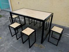 Concrete Table, Industrial Table, Wood Furniture, Iron, Chair, Simple, Projects, House, Design