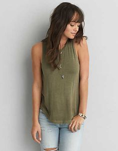 AEO Soft & Sexy Drapey Tank , Olive | American Eagle Outfitters