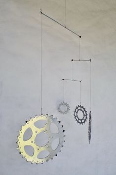 Bicycle Mobile Recycled Bicycle Art Kinetic Art Bicycle Accessories. $45.00, via Etsy.