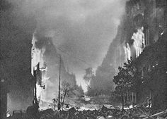 Marszałkowska Street of Warsaw in flames, during the Warsaw Uprising - 1944 : HistoryPorn Polish Government, Warsaw Uprising, Rosa Parks, World Trade Center, Martin Luther, World War Two, Old Photos, Poland, Past