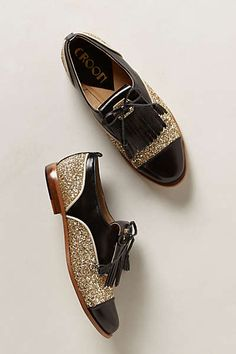 Anthropologie - Goldust Kiltie Oxfords. Every gal needs a sparkling pair of oxfords!