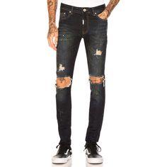 REPRESENT Destroyed Denim ($135) ❤ liked on Polyvore featuring men's fashion, men's clothing, men's jeans, jeans, mens frayed hem jeans, men's paint splatter jeans, mens ripped jeans, mens torn jeans and mens destroyed jeans