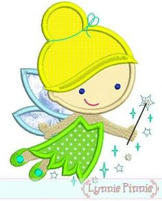 Cutie Princess FAIRY Applique 4x4 5x7 6x10 by LynniePinnie, $2.99