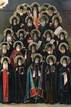 """Holy and Light-bearing Kollyvades Fathers of Athos. On the Saturday of Bright Week, a service has been written to commemorate all of the Saintly Holy Fathers of the so-called """"Kollyvades"""" movement. These were monastics primarily from Mount Athos who taught adherence to Holy Orthodox dogma and tradition amid waves of westernism and secularism during the years of the Turkish occupation of Greece. The ranks of such Holy Fathers include some of the Church's most beloved Saints: St. Nikodemos of…"""