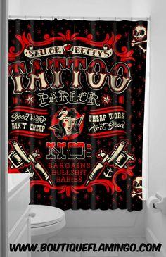 Sourpuss Clothing Sailor Betty Shower Curtain Tattoo Gun Tattoo Bettie Page Betty Paige Rockabilly Pinup Novelty Shower Curtains, Fabric Shower Curtains, Sourpuss Clothing, Pin Up Tattoos, Vintage Inspired Fashion, Bathroom Colors, Bathroom Ideas, Bathroom Stuff, Bathroom Designs