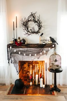 Halloween Decorating Ideas for the Mantel | Apartment Therapy Halloween Fireplace, Casa Halloween, Fireplace Set, Spooky Halloween Decorations, Halloween Home Decor, Couple Halloween, Holidays Halloween, Halloween Crafts, Halloween Sayings