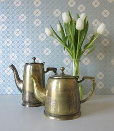 Vintage Shabby Chic Gold or Silver coloured Tea and Coffee Pot  17051 door Vantoen op Etsy