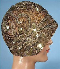 Cloche hat with sequins