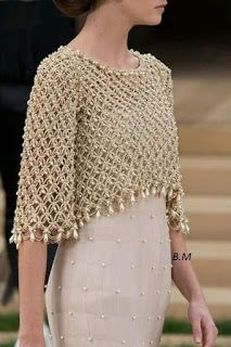 Crochet bolero decorated with pearls, for a special occasion. Crochet bolero decorated with pearls, for a special occasion. Made in point Solomon, this crochet work is beautiful and . Chanel Couture, Crochet Shawl, Knit Crochet, Crochet Bolero Pattern, Crochet Shrugs, Crochet Sweaters, Pinterest Crochet, Mode Chanel, Chanel Chanel