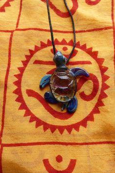 Dichroic Lampwork Glass Pendant - Sea Turtle on Etsy, $20.00 <3