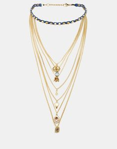 Image 1 of ASOS Pyramid Choker And Multirow Charm Necklace