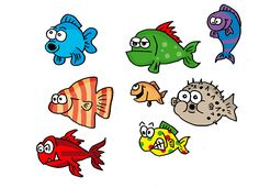 bunte Fische als Cartoonfiguren