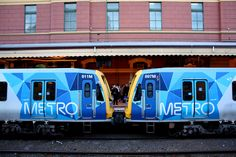 The recent colours of the new Metro brand for Melbourne's suburban railway system. At Platform No Flinders Street railway station, Melbourne. Corporate Identity Design, Electric Train, Melbourne Victoria, Light Rail, Rolling Stock, Cartography, Public Transport, Transportation, Diorama Ideas