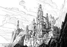 Castle in the Mountains, Raphael Lacoste Castle Sketch, Castle Drawing, City Drawing, Fantasy City, Fantasy Castle, Fantasy World, Architecture Drawing Sketchbooks, Lacoste, Building Concept