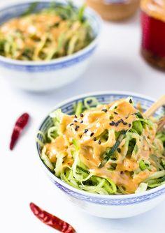 Zucchini Noodles with Spicy Peanut Sauce | Light Orange Bean
