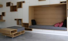 Storage lounge for the office Built In Furniture, Modern Furniture, Furniture Design, Small Apartments, Small Spaces, Interior Architecture, Interior Design, Small Living, Modern Living