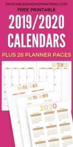 Free Teacher Planner Printable 2019 - 2020 2019 2020 Calendar Printable in pretty pastel colors from our FREE Teacher Planner Printable. Lesson planner with calendar in two pages, teacher binder divider and cover, teacher quot Teacher Calendar, Teacher Planner Free, Teacher Lesson Planner, School Planner, Teacher Binder, Happy Planner, Student Planner, Free Planner, Teacher Organization