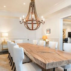 Natural wood dining room table with wine barrel stave chandalier. Rustic french country dining room - Home decor and design Large Dining Room Table, Wooden Dining Tables, Dining Table Design, Dining Room Furniture, Natural Wood Dining Table, Rustic Table, Table Lamps, 12 Person Dining Table, Dining Area