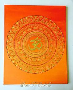 OM Symbol Mandala in henna art on 16x20 back stapled by dotnswirls