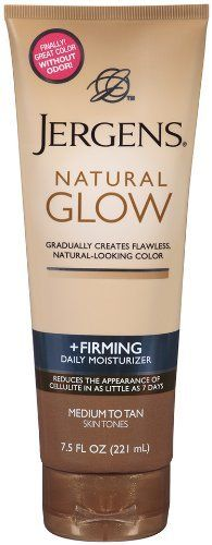 Jergens Natural Glow Firming Medium Tanning Lotion, 7.5 Ounces by Jergens. $8.49. Natural glow firming medium tanning lotion by Jergens for unisex-7.5 ounce lotion. Natural Glow Firming Medium Tanning Lotion by Jergens for Unisex. Gradually creates natural-looking color. Clinically proven to reduce the appearance of cellulite in as little as seven days. Moisturize into a firming glow. Jergens Natural Glow Firming Daily Moisturizer gradually creates fabulous natural-looki...