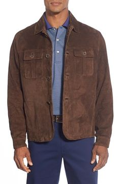 Peter Millar 'Roma' Suede Shirt Jacket available at #Nordstrom